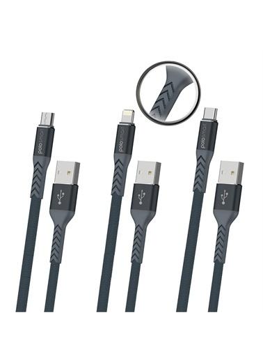 Polo Smart Psm93 3'Lü Hızlı Şarj Ve Data Kablo Seti 1.2 M Renkli